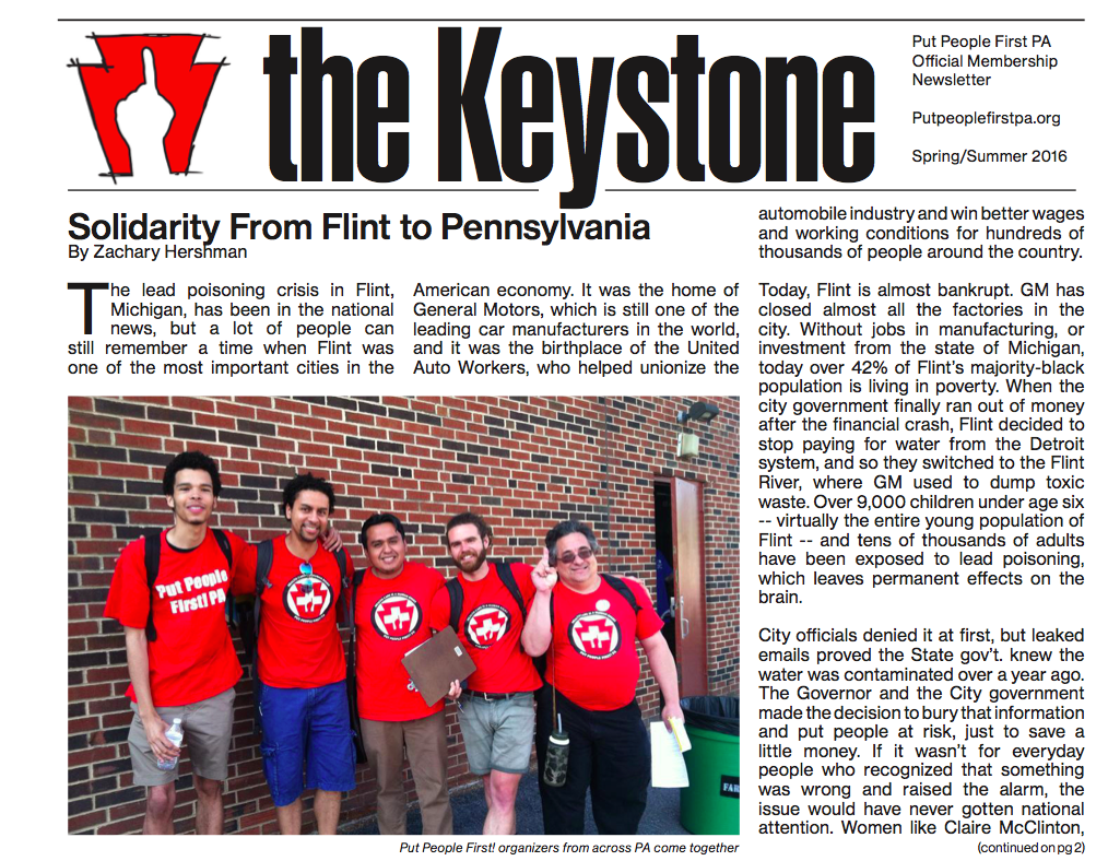 Front page from the Spring/Summer 2016 Keystone