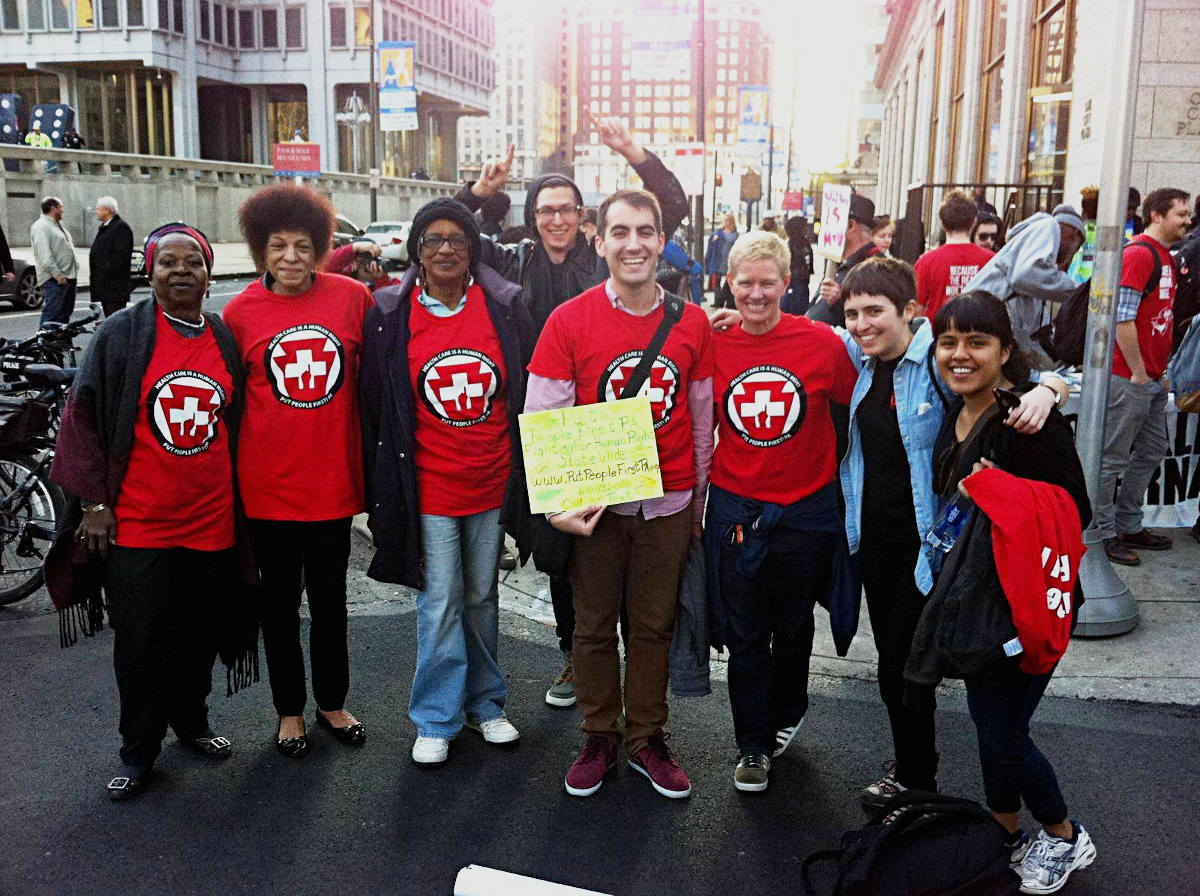 Take action at Independence Blue Cross. PPF Members stand together at an action earlier this year in Philadelphia.