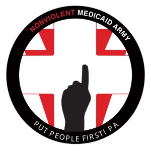 Logo for the Nonviolent Medicaid Army: A red keystone behind a white cross, with a hand holding up one finger in the foreground.