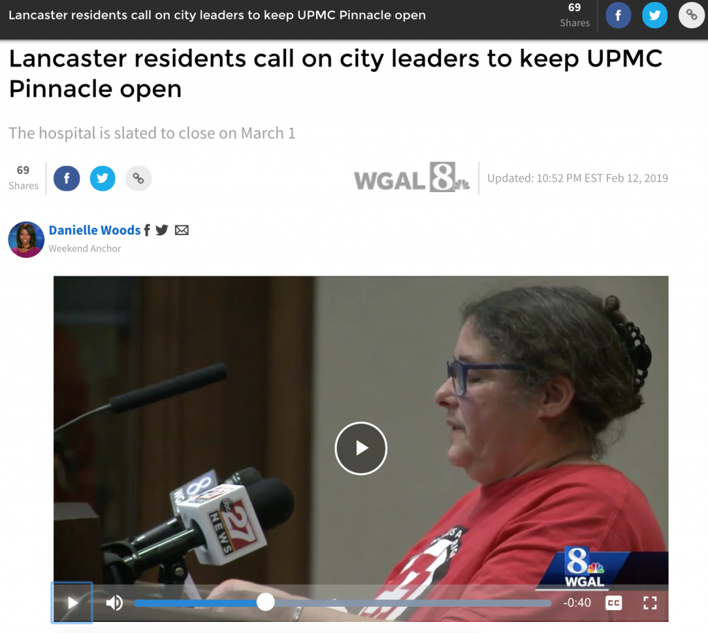 Lancaster Residents Call on City Leaders to Keep UPMC Pinnacle Open