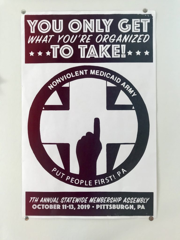 "Poster from the 2019 PPF-PA Membership Assembly ""You only get what you're organized to take!"""
